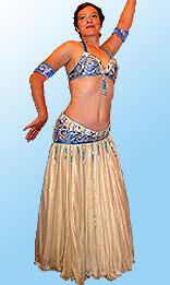 Бело-голубой лиф и пояс для танца живота